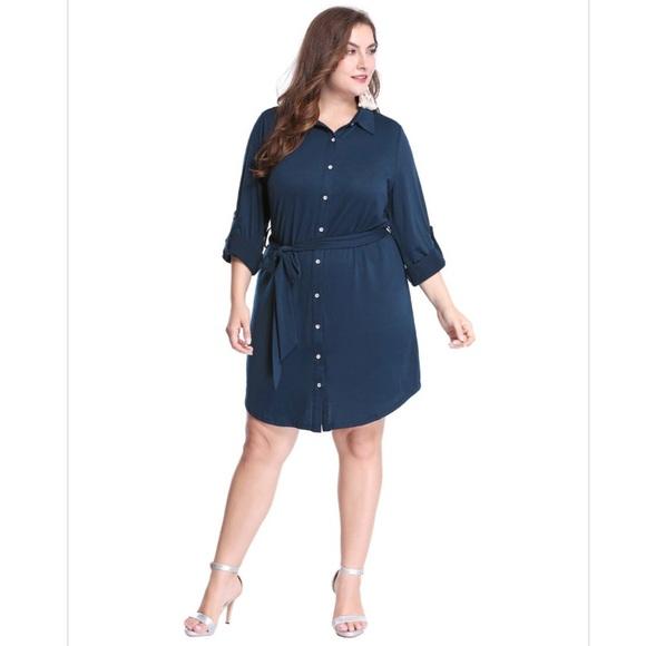 Flattering Plus Size Navy Belted Shirt Dress Boutique